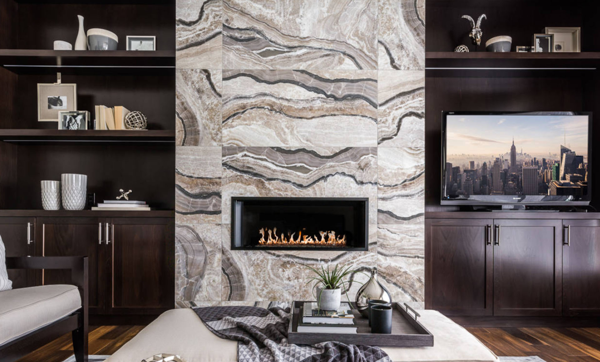 Marble Tile Fireplace Ideas
