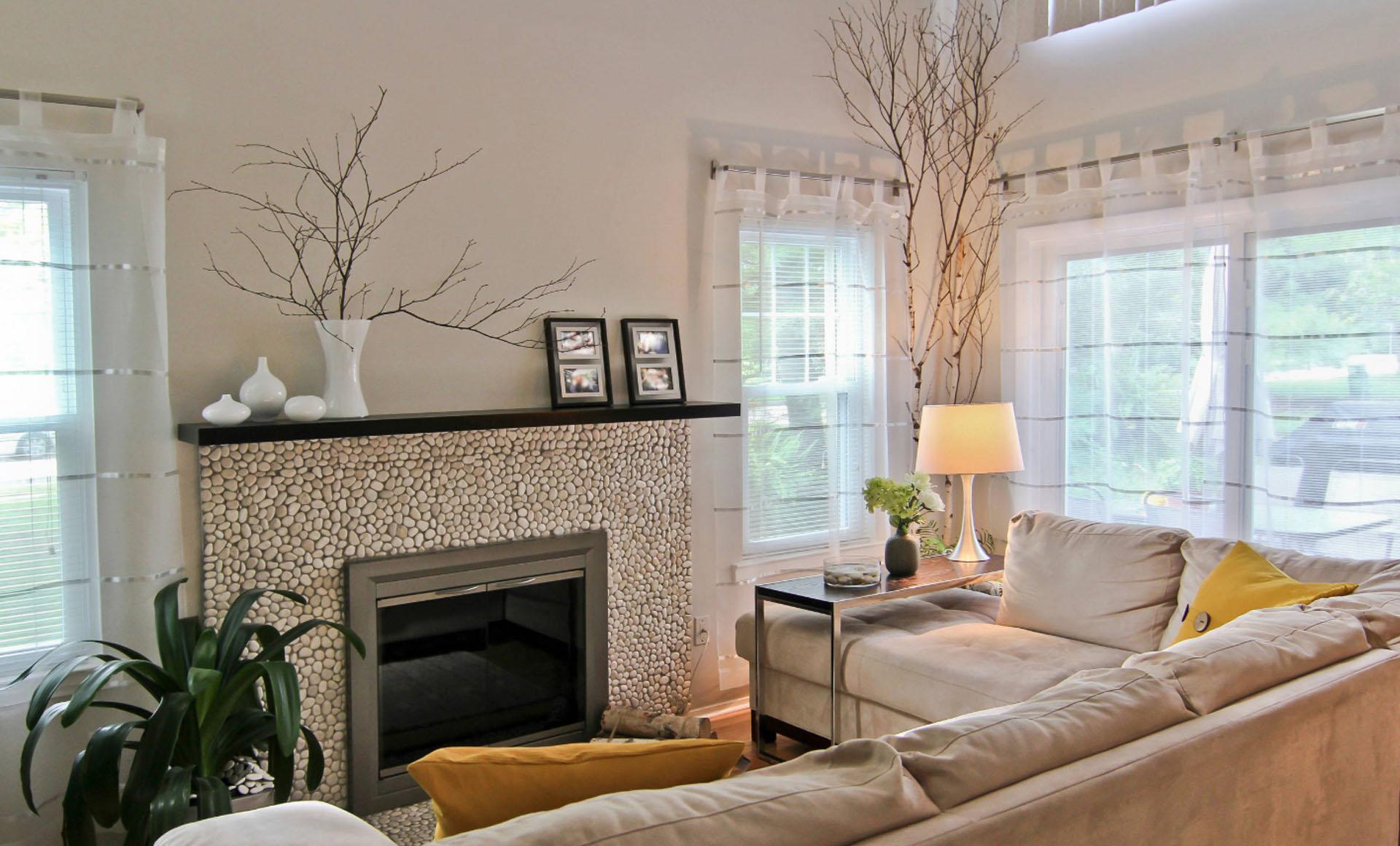 Pebble Pattern Fireplace Ideas
